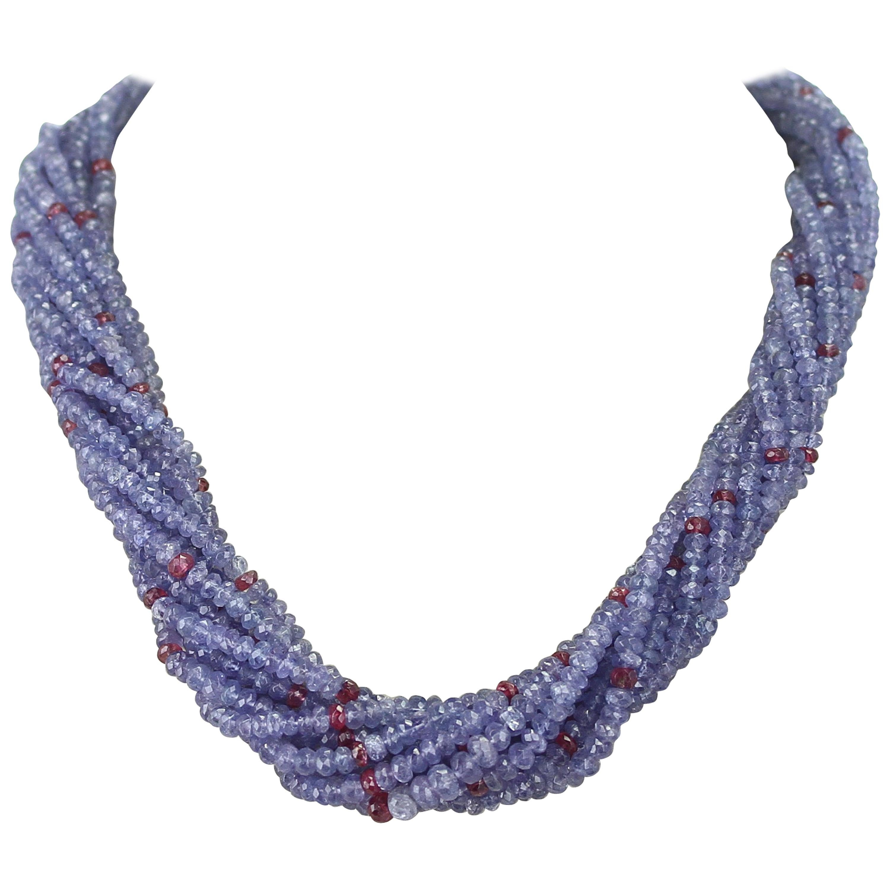 Genuine and Natural Tanzanite and Spinel Faceted Bead Choker Necklace, 18K White