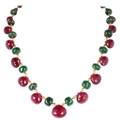 Genuine and Natural Tourmaline Drops with Emerald and Gold Beads Royal Necklace