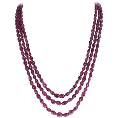 Genuine and Natural Tumbled and Smooth Spinel Beads Necklace, 14 Karat Clasp