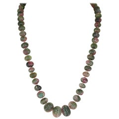 Genuine and Natural Watermelon Tourmaline Carved Beads Necklace