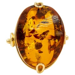 Genuine Baltic Honey Amber USSR Russian Gold Ring