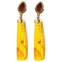 Genuine Baltic Sea Amber Earrings in 14 Karat Yellow Gold, circa 1985