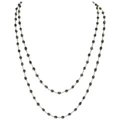 Genuine Black Diamond Drum-Shape Beads Wire-Wrapped Necklace, 18 Karat White
