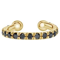 Genuine Black Diamond Helix Cuff Earring in 14K Yellow Gold, Shlomit Rogel