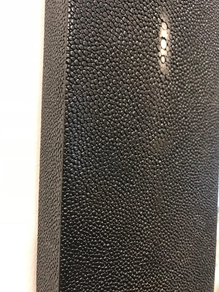 Genuine Shagreen Rectangular Black Mirror In New Condition For Sale In New York, NY