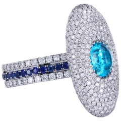 Genuine Brazilian Paraiba Tourmaline in a Micro Pave Statement Ring by Leon Mege