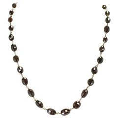 Genuine Brown Diamond Drum-Shape Beads Wire-Wrapped Necklace, 18 Karat Yellow
