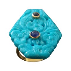 Genuine Carved Turquoise Blue Sapphire Cabochons 14 Kt Yellow Gold Fashion Ring