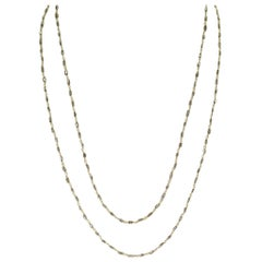 Genuine Champagne Diamond Tube-Shape Beads Wire-Wrapped Necklace, 18K Yellow