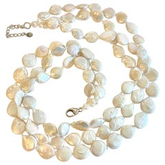 Genuine Coin Pearl Three-Strand Layered Necklace