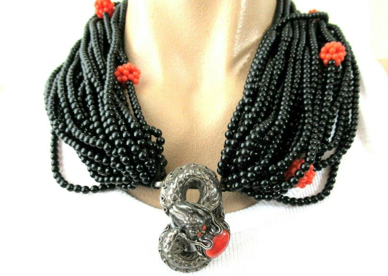 Genuine Coral and Multi Strand Black Onyx Silver Dragon Necklace In Excellent Condition For Sale In Montreal, QC