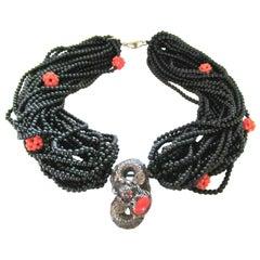 Genuine Coral and Multi Strand Black Onyx Silver Dragon Necklace