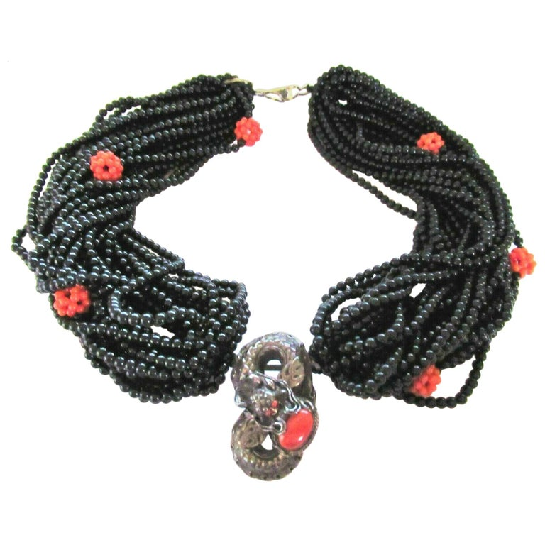 Genuine Coral and Multi Strand Black Onyx Silver Dragon Necklace For Sale