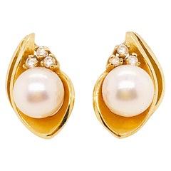 Genuine Cultured Akoya Pearl Diamond Estate Stud Earrings in 14 Karat Gold