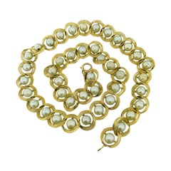 Genuine Cultured Freshwater Pearl Necklace in 14 Karat Yellow Gold