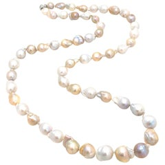 "Genuine Cultured Multicolor Baroque Pearl 37"" Long Necklace"