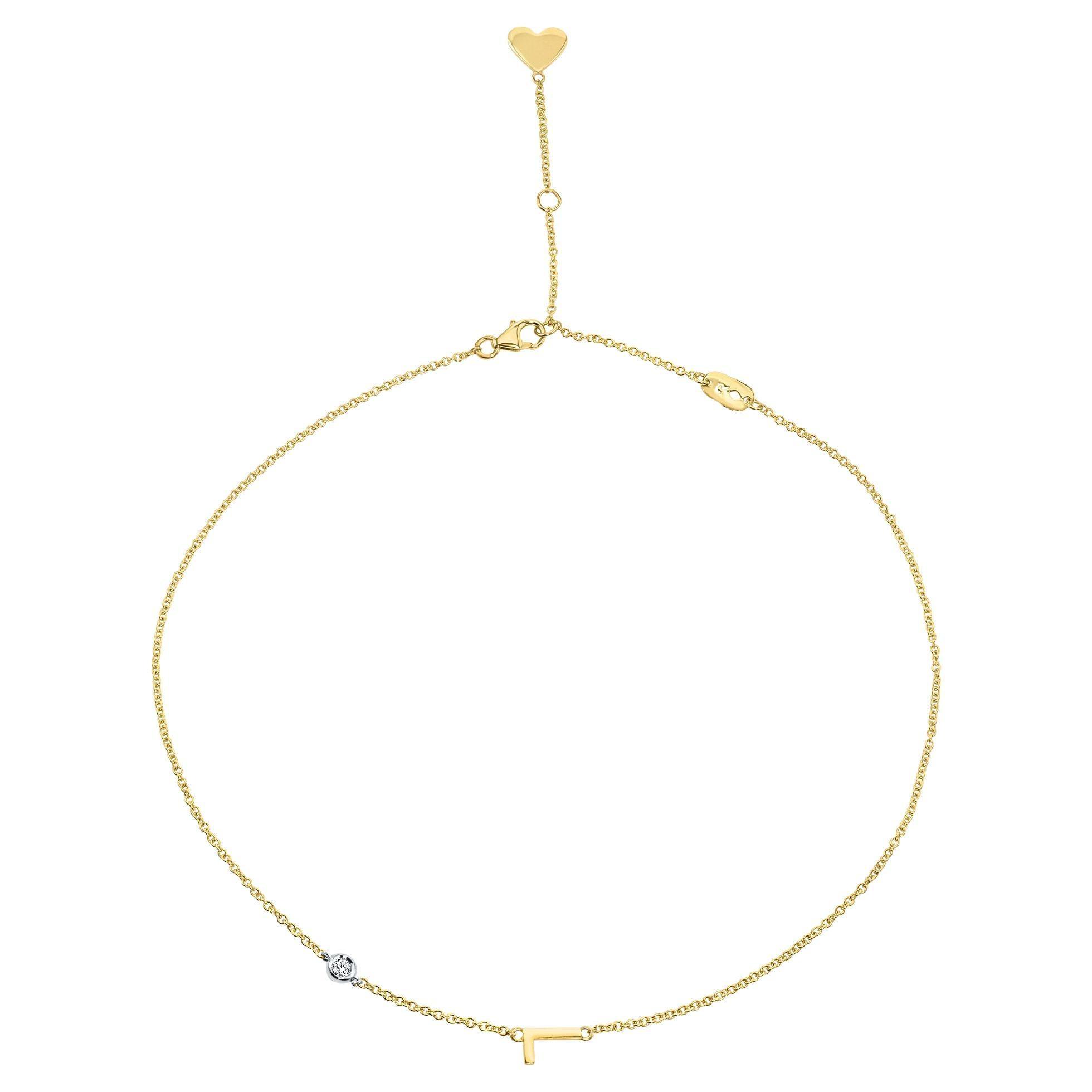Genuine Diamond Asymmetrical Initial Necklace in 14k Yellow Gold, Shlomit Rogel