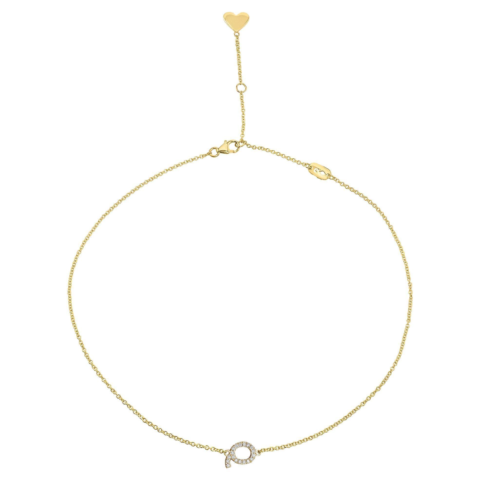 Genuine Diamond Asymmetrical Letter Necklace in 14k Yellow Gold, Shlomit Rogel