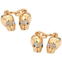 Genuine Diamond Skull Charms Double Sided Silver Cufflinks Yellow Gold-Plated