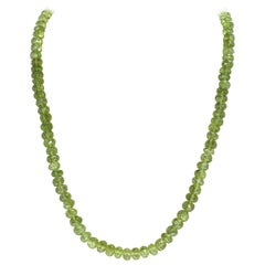 Genuine Faceted Peridot Beads Necklace, Sterling Silver Clasp