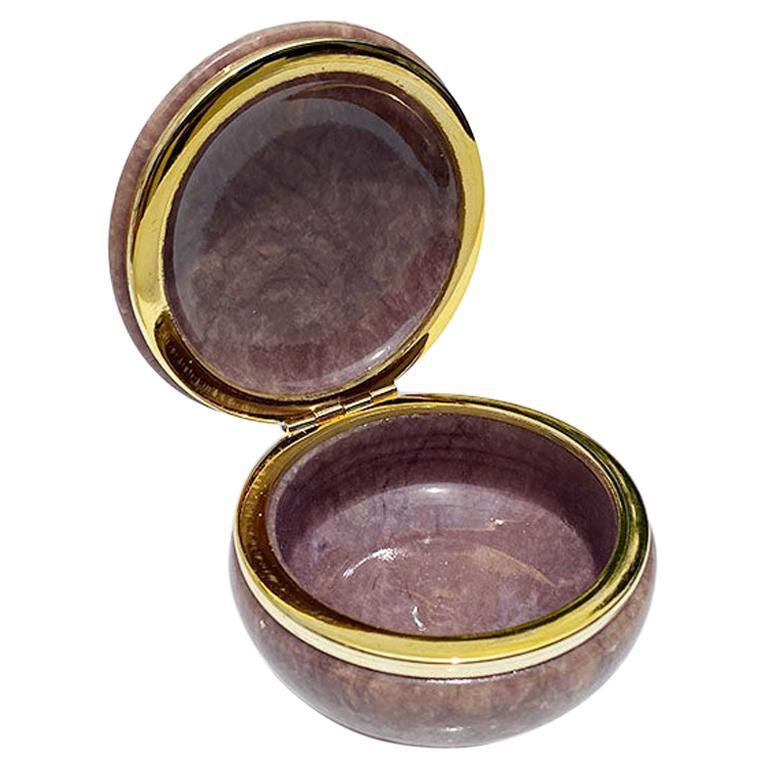 Genuine Italian Purple Carved Alabaster Decorative Trinket Box, Italy