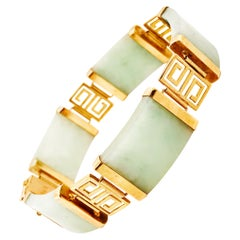 Genuine Jade Chinese Good Luck Bracelet in 14 Karat Yellow Gold