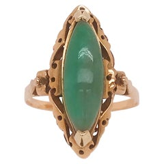Genuine Jade Marquise Estate Ring, Hand Fabricated Design in Yellow Gold