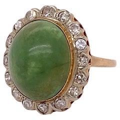 Genuine Jade Ring, Genuine Jadeite Jade with Diamonds Set in Yellow Gold