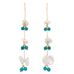 Genuine Keshi Pearl and Turquoise Custom Earring Dangles in 14 Karat Yellow Gold