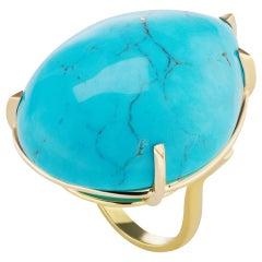 Genuine Large 116 Carat Cabochon Pear Shape Turquoise Matrix Statement  Ring