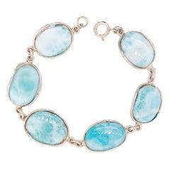 Genuine Larimar Gemstone Organic Link Bracelet in Sterling Silver 925