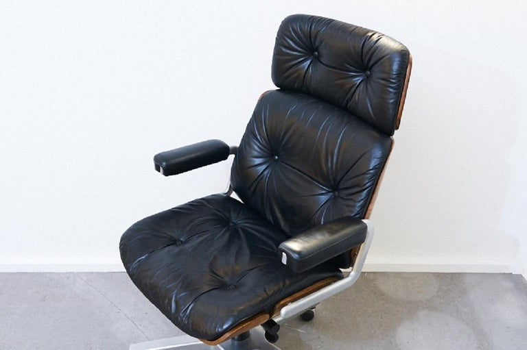 Genuine Leather Armchair Master Chair by Stoll or Giroflex, Oak, 1960s For Sale 5