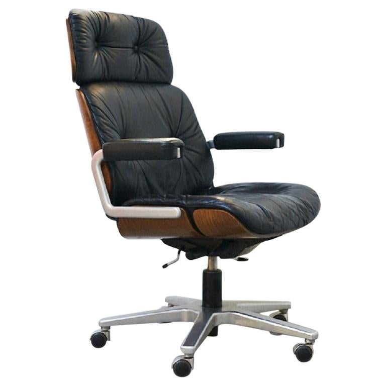 Genuine Leather Armchair Master Chair by Stoll or Giroflex, Oak, 1960s For Sale