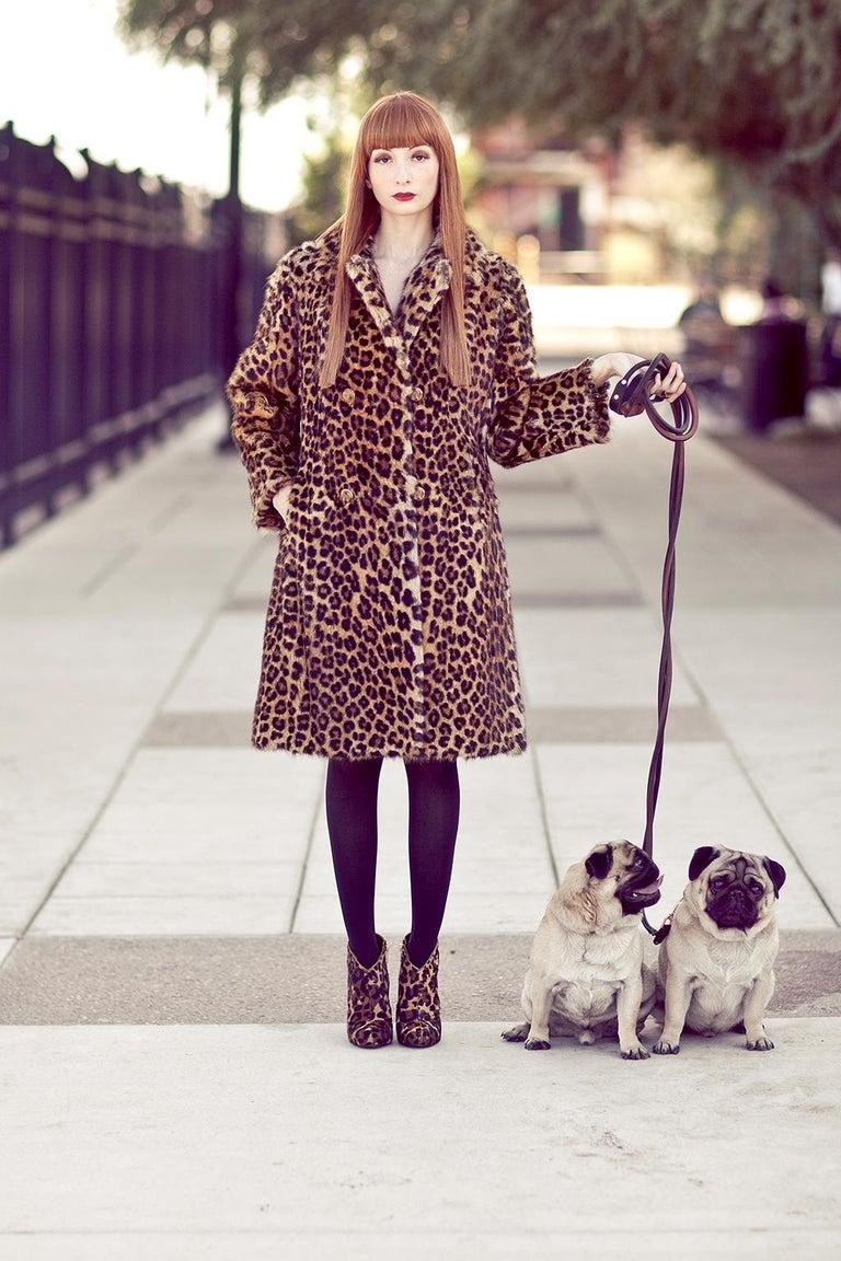 Genuine Leopard-Stenciled Mink Fur A-Line Stroller Coat - S-M, 1960s For Sale 2