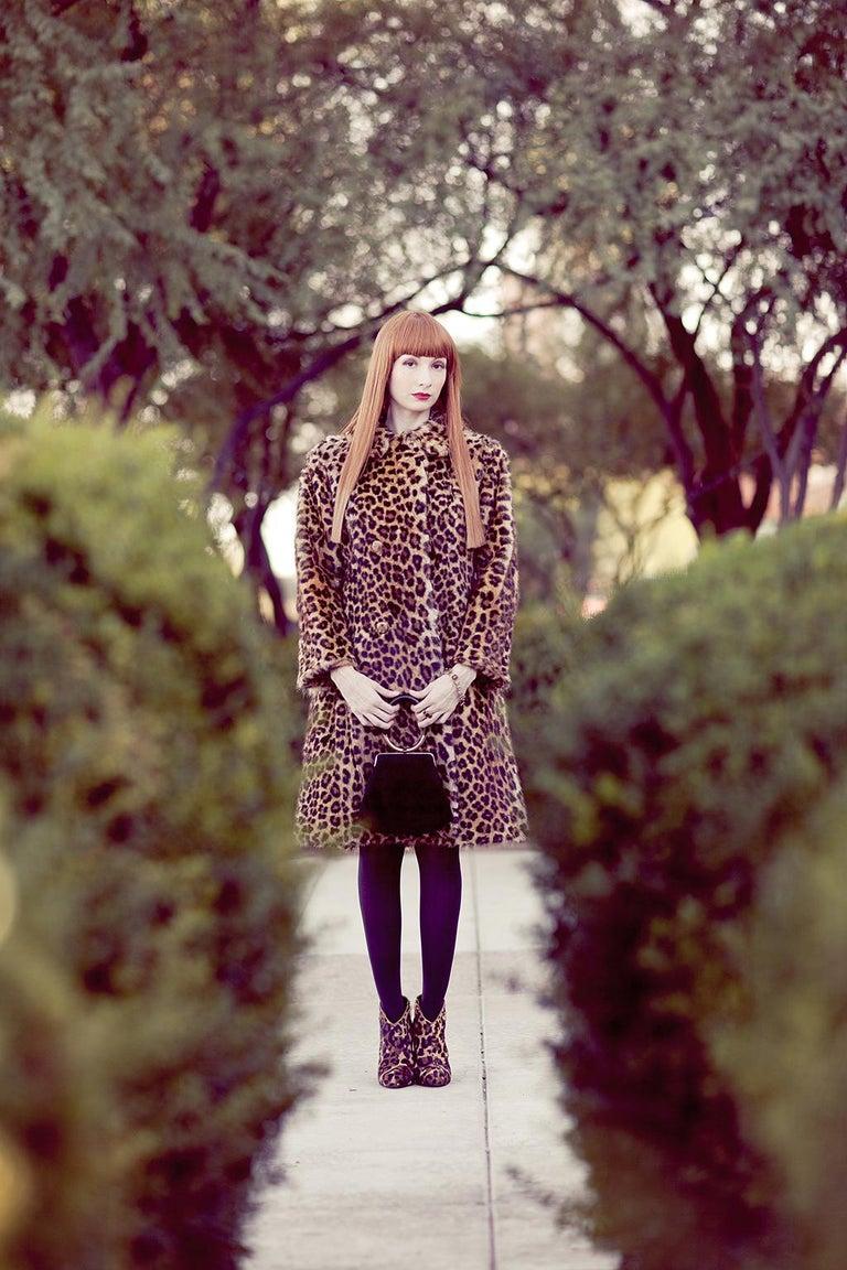 Genuine Leopard-Stenciled Mink Fur A-Line Stroller Coat - S-M, 1960s For Sale 3