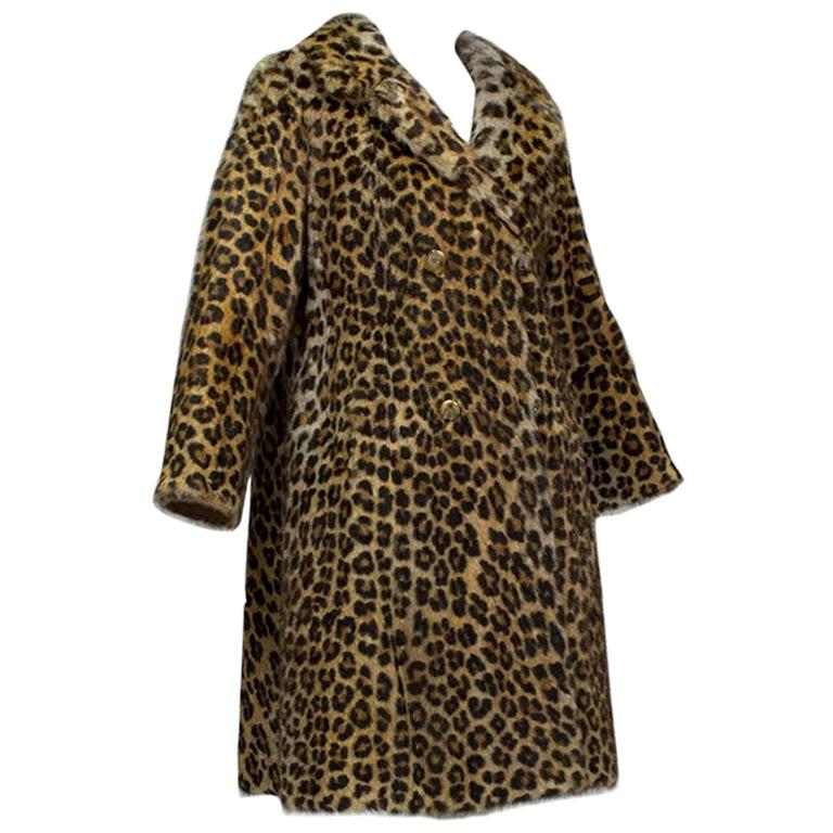 Genuine Leopard-Stenciled Mink Fur A-Line Stroller Coat - S-M, 1960s For Sale