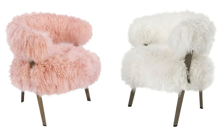 Stainless Steel Genuine Long Pink Sheepskin Fur Armchair For Sale