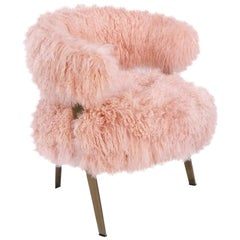 Genuine Long Pink Sheepskin Fur Armchair