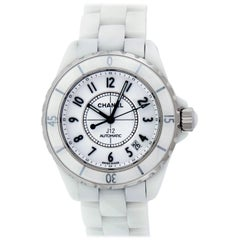 Genuine Men's Chanel J12 White Ceramic Watch Date Automatic White Dial H0970