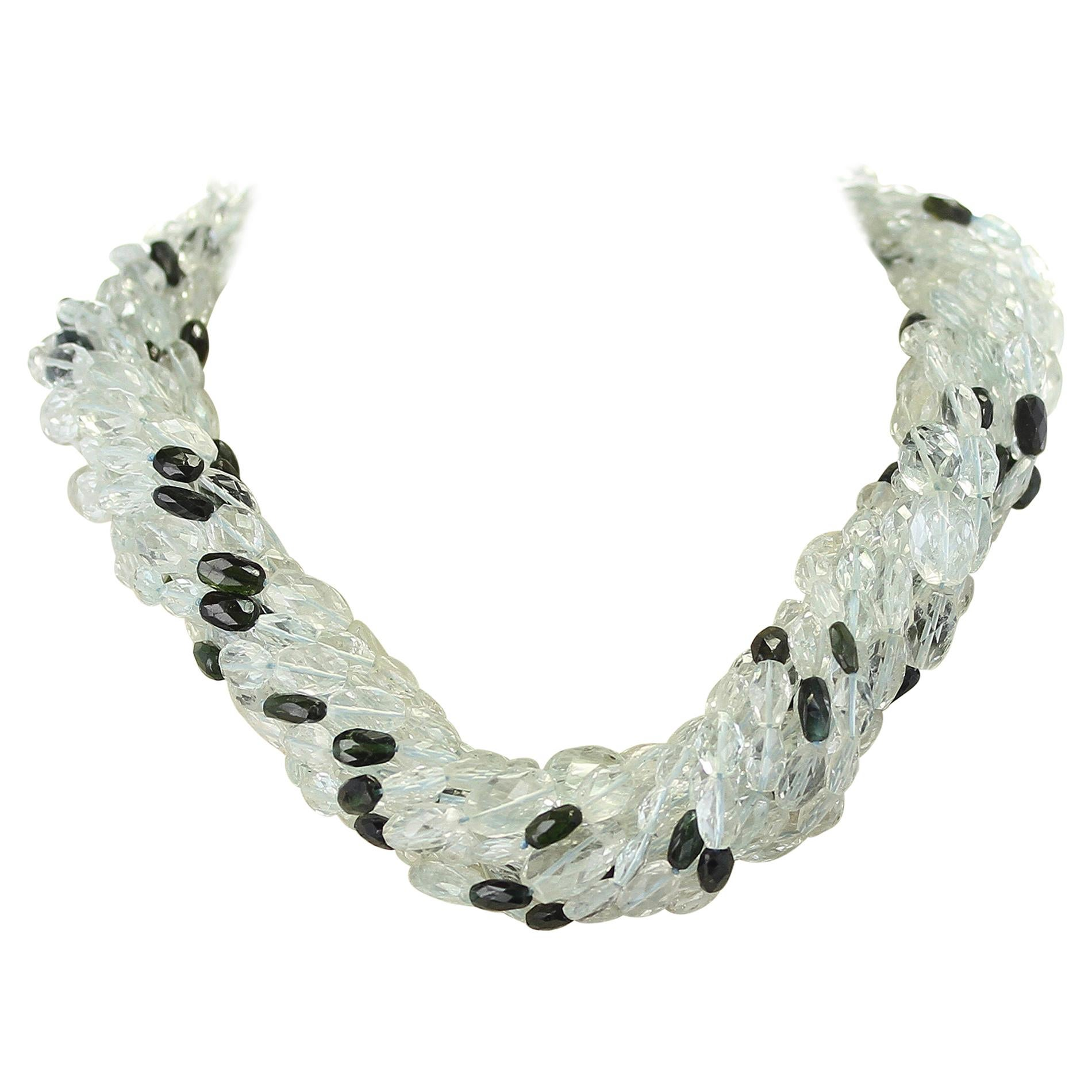 Genuine & Natural Aquamarine Faceted Tumbled Bead & Tourmaline Choker Necklace