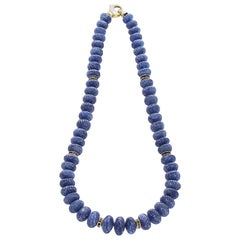 Genuine & Natural Carved Sapphire Beads Necklace Calibre Sapphire and Gold Discs