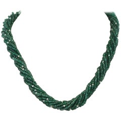 Genuine & Natural Faceted Green Emerald Beads with Pearls Choker Necklace, 18K