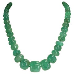 Genuine and Natural Large Plain Emerald Tumbled Beads with Pearl Clasp Necklace
