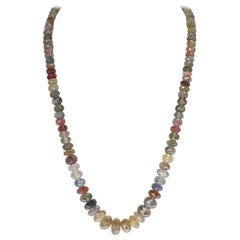 Genuine & Natural Multi-Color Earthy Tone Fancy Sapphire Faceted Beads Necklace