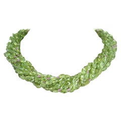 Genuine & Natural Peridot Tumbled Faceted Beads with Pink Sapphire Bead Necklace