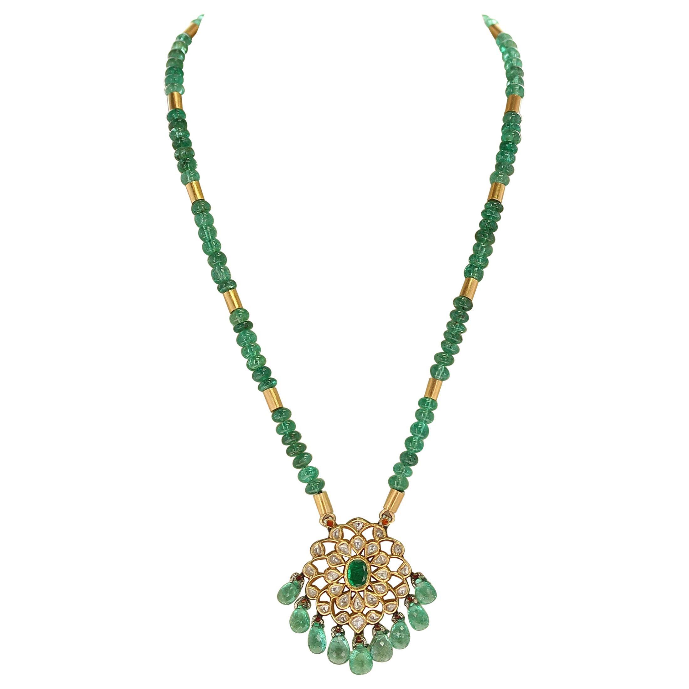 Genuine & Natural Plain Emerald Beads Necklace and Indian Kundan Enamel Pendant
