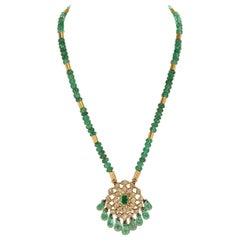Genuine & Natural Plain Emerald Beads Necklace and Indian Kundan Enamel Pendant