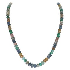 Genuine & Natural Smooth Multi-Color Sapphire and Emerald Beads Necklace, 14K