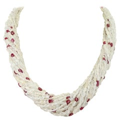 Genuine & Natural Yellowish White Sapphire Plain Tumbled Bead with Ruby Necklace