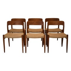 Genuine Neils Moller 75 Chairs with Original 1950s Medallions